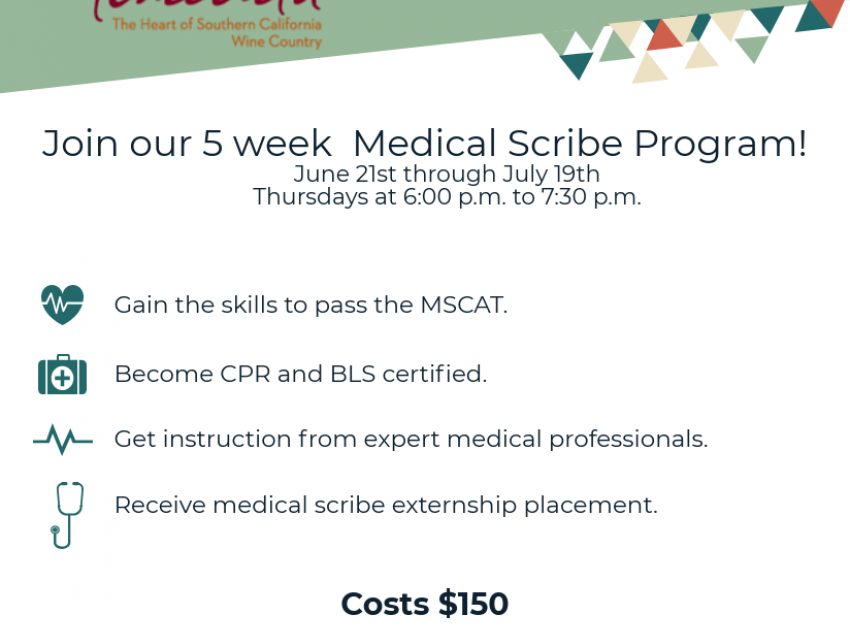 Medical Scribe Program Jul 9th 600pm Temecula Community